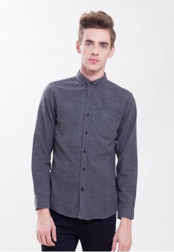 Drum grey Chambray Long Sleeve Shirt-Grey C705EAAD8F9131GS_1