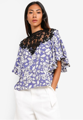 BYSI blue Flower Crochet Print Top 84454AA786B1B9GS_1
