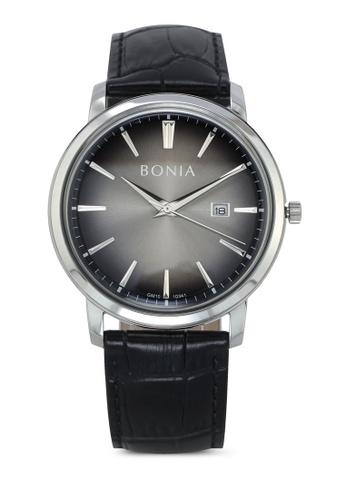 BONIA grey Bonia BNB10341-1342 Black/Grey Leather Watch BO777AC0SE17MY_1