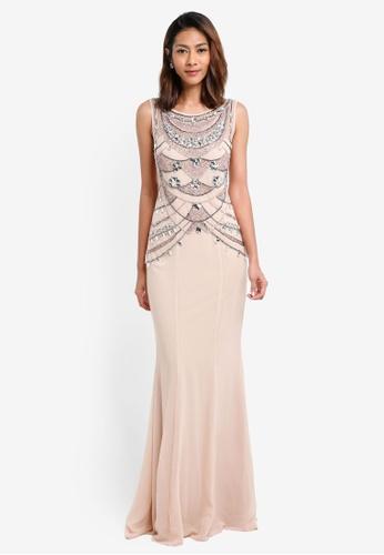 Goddiva beige Embellished Bodice Chiffon Maxi Dress 25123AAA896421GS_1
