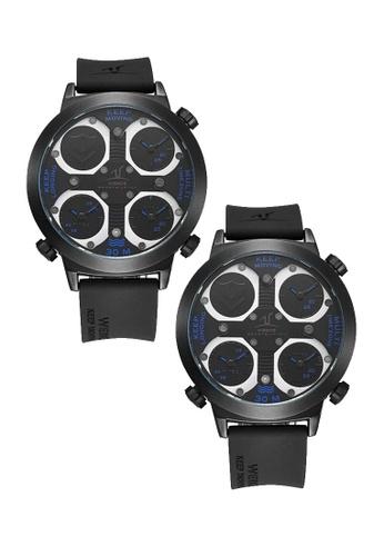Weide black Bundle 2 Units Weide Uv1503 Men's 3 Time Zone Universe Series Wristwatch- Full Black WE079AC0RQN9MY_1
