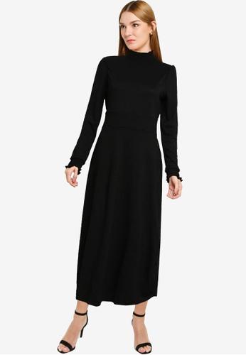 Dorothy Perkins black Black Plain Shirred Neck Midi Dress 90A24AA10A3241GS_1