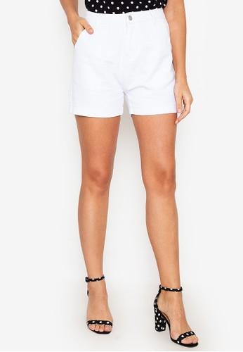 ZALORA BASICS white High Waist Denim Shorts 4BBF1AA81356E9GS_1