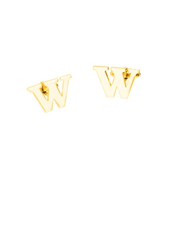 Glamorousky silver Simple Personality Plated Gold English Alphabet W Cufflinks 1353FAC0507D55GS_1