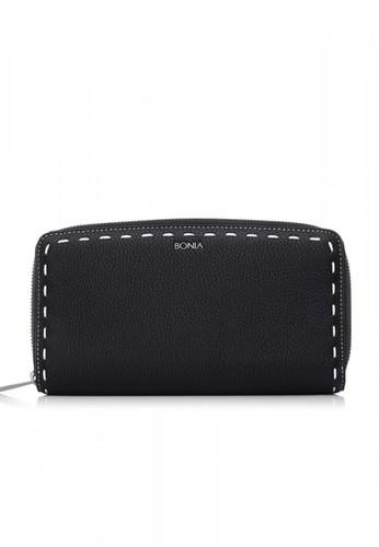 BONIA black Black Bianca Zipper Wallet BO710AC0UFQAID_1