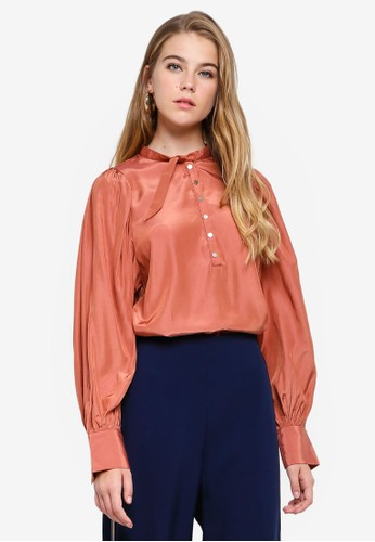 bYSI brown Puff Sleeve Button Blouse 53137AA58E496AGS_1