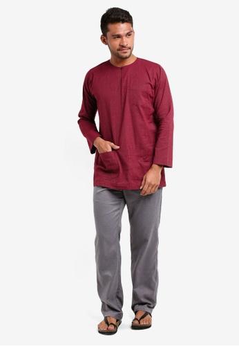 Lubna grey and red Stripe Baju Melayu Teluk Belanga E0D7DAAE96B807GS_1