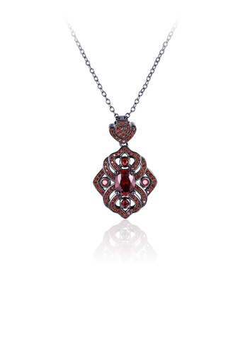 Glamorousky red Fashion and Elegant Openwork Pattern Pendant with Red Cubic Zircon and Necklace 3007FACD138D35GS_1