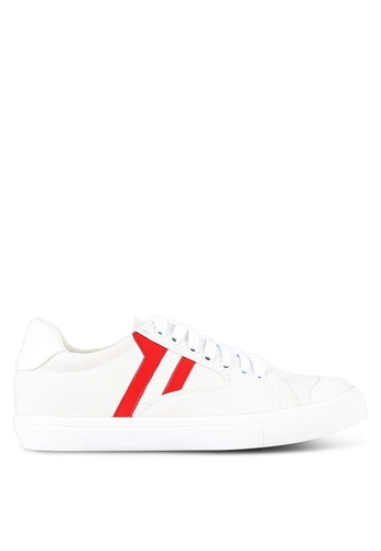 Something Borrowed white and red Panelled Lace Up Trainers C1606SH6BFD597GS_1