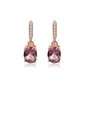Glamorousky white 925 Sterling Silver Plated Rose Gold Fashion Simple Geometric Oval Earrings with Purple Cubic Zirconia EC467AC2DEC2FEGS_1