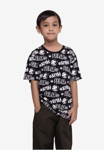 SODA white Felix The Cat All-Over Print T-Shirt - Black 93070KA7652319GS_1