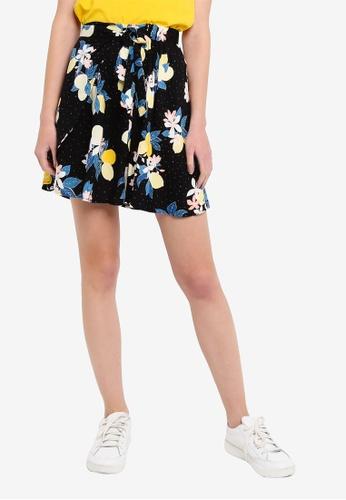 LC Waikiki black Tied-on Patterned Viscose Mini Skirt 68861AA36B4D69GS_1