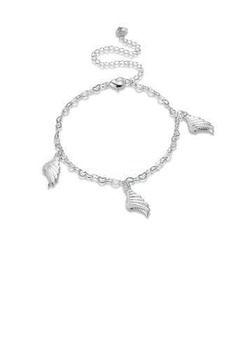 Glamorousky silver Fashion Simple Angel Wings Anklet CBD69AC3EC0283GS_1