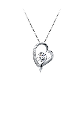 Glamorousky white 925 Sterling Silver  Romantic Heart Pendant with Cubic Zircon and Necklace 3F4B2AC6740624GS_1