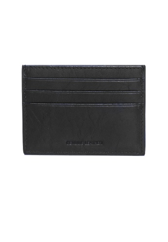 ENZODESIGN black and brown Buffalo Leather Slim Card Holder   EN115AC02ZWFPH_1