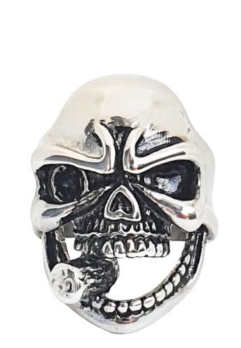 San Marco silver Smokin Cigar Skull Stainless Steel Ring 29334AC5AC9B4DGS_1