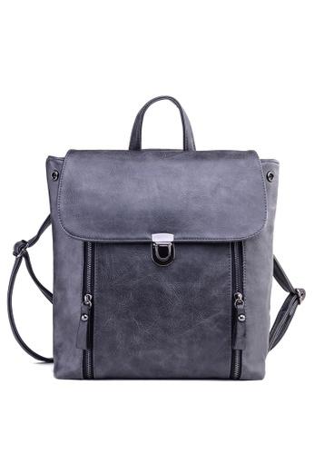 Vince grey European Designed Vegan Leather Backpack ( Grey ) VI456AC93VFQMY_1