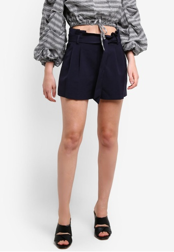 Miss Selfridge navy Petite Paper Bag Shorts MI665AA0RF20MY_1
