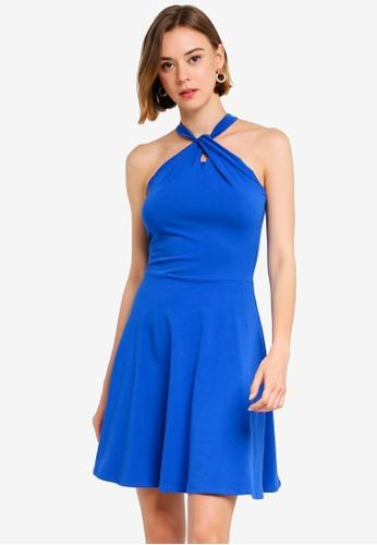 46d1c6fdc7 Dorothy Perkins blue Cobalt Twist Neck Fit And Flare Dress  91F8DAA69F750AGS 1