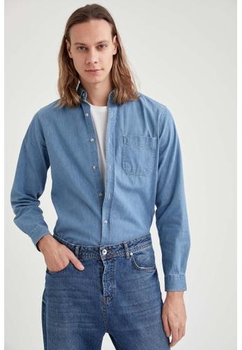 DeFacto blue Long Sleeve Denim Shirt F7577AAB1BEC40GS_1