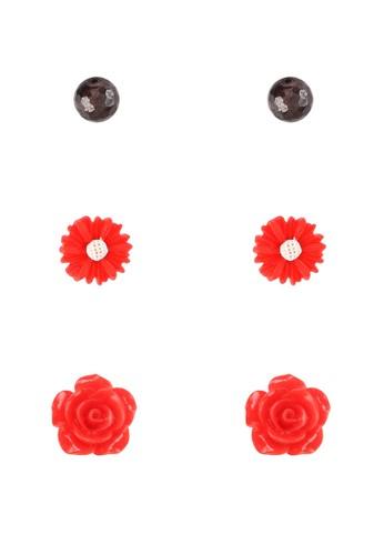 La Maison D'Evolette red 3 Set Rosalinda Earrings with Rouge Garnet Gemstone E7407ACD0328ADGS_1