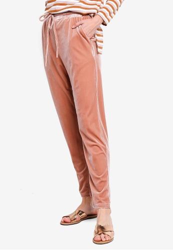 Zalia pink Velour Drawstring Pants 344FBAA1A1A513GS_1