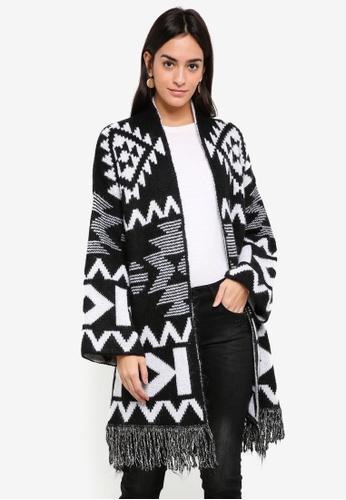 Sisley black Geometric Long Cardigan B6978AA01ED96FGS_1