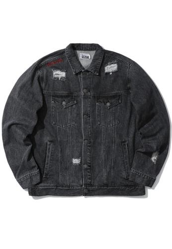 izzue black Distress denim jacket FA952AA869FAE9GS_1