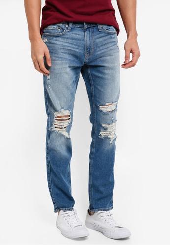 Hollister 藍色 Skinny Shredded Jeans FFBBBAAC1FEB9BGS_1