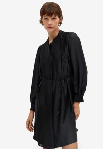 Mango black Pleated Satin Dress 58A3EAA6F8FDF4GS_1
