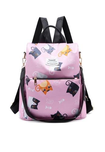 Twenty Eight Shoes pink VANSA Floral Printed Nylon Oxford  Backpacks VBW-Bp1044 326A5ACBEF583BGS_1