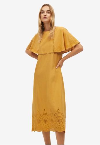 Mango yellow Mango Openwork Cotton Dress 9E5BEAA9CE6373GS_1