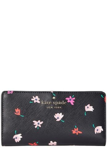 Kate Spade black Kate Spade Staci Ditsy Buds Large Slim Bifold Wallet in Black Multi 7CF7AAC69F8FEDGS_1