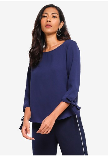 ZALORA BASICS navy Basic Tie Sleeves Blouse 3045FAA8969E70GS_1