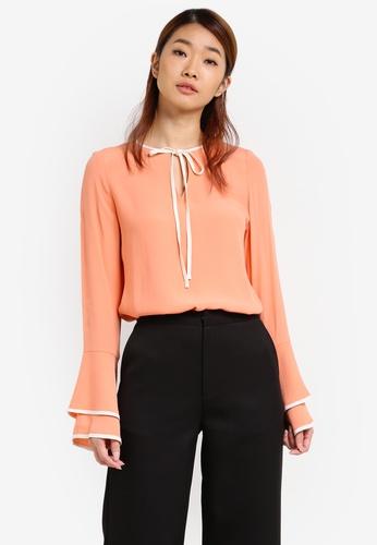 ZALORA orange Contrast Fluted Sleeves Blouse 19906AAD4ADBAFGS_1
