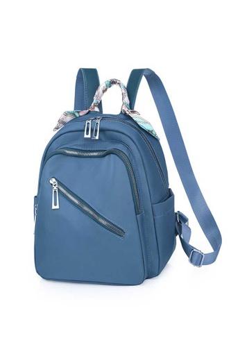 Lara blue Women's Stylish Silk Scarf Handle Oxford Cloth Zipper Backpack - Blue C5D2EACDD65548GS_1
