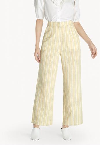 Pomelo yellow Pinstripe High Waist Pants - Yellow A06CAAAB14CF55GS_1