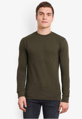 Topman green Ultra Muscle Fit Sweatshirt TO413AA0SHC3MY_1