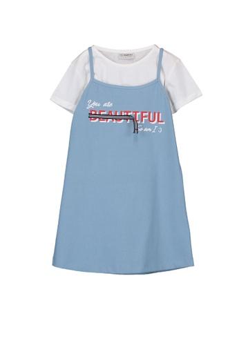 LC Waikiki blue Girls Printed Dress and T-Shirt D7CECKA7FFEAB3GS_1