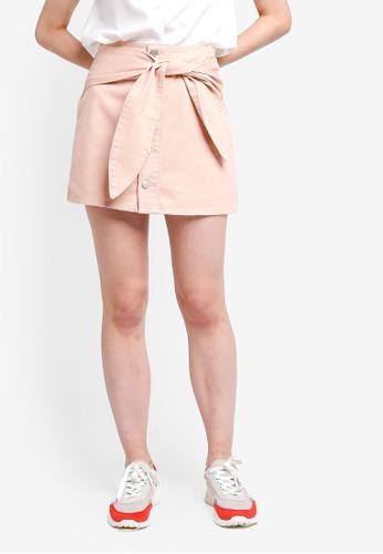 Something Borrowed pink Self Tie Mini Skirt 11CB6AAD6646D6GS_1