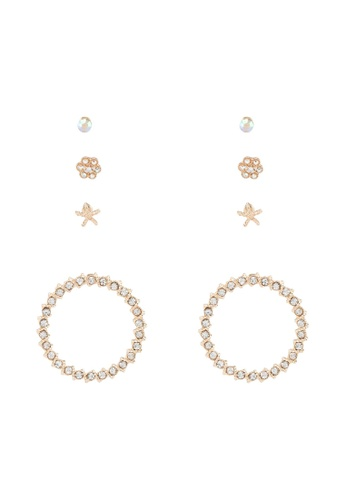Red's Revenge gold 4-In-1 Daring Diamante Gold Circle Dangle & Studs Earrings Set B1A01AC278D6F0GS_1