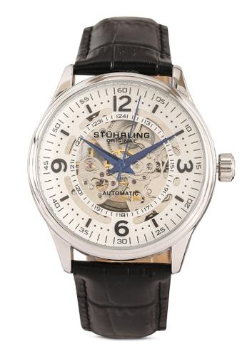 Stuhrling Original black and silver Denmark 3947 Automatic Skeleton Watch EDDEBACAE1EEE3GS_1