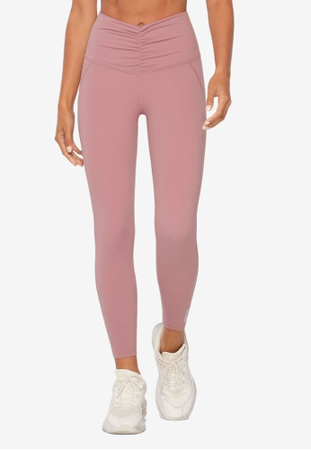 Lorna Jane pink Gathered V-Front Ankle Biter Leggings 0B65FAAE1A669CGS_1