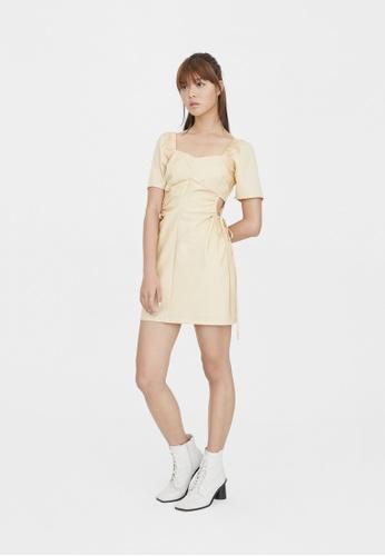 Pomelo beige Side Cut Out Ruched Dress - Beige 06418AA7176C98GS_1