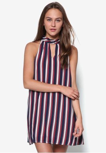 Taesprit台灣官網mara 條紋繞脖寬擺洋裝, 服飾, 短洋裝