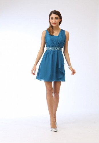 優雅日系名媛雪紡紗貼雷絲zalora 評價洋裝, 服飾, 短洋裝