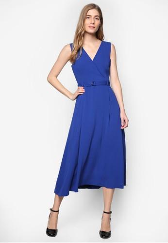 V 領腰帶及膝洋裝, 服飾esprit台灣outlet, 洋裝