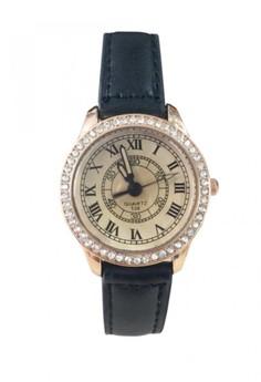 Gold Tone Diamond Roman Numeral Leather Watch Design