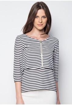 Stripes Overlay Quarter Sleeve Shirt