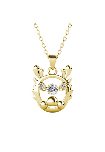 Her Jewellery gold 12 Dancing Zodiac Pendant (Dragon) YG - Made with premium grade crystals from Austria 6840CAC75A0F7EGS_1